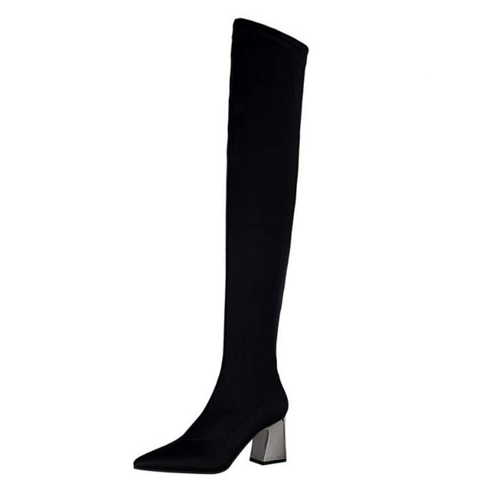 - T-JULY Women's Fashion Over The Knee Boots Faux Suede Stretch Slim Thigh High Heels Sexy shoes
