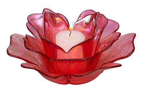 Biedermann & Sons Pink Rose Floral Glass Votive Candle Holder HJ290PK