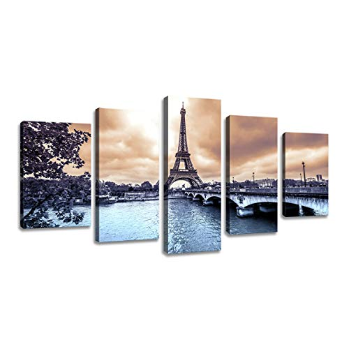 decalmile 5 Piezas Cuadro sobre Lienzo Paris Torre Eiffel Paisaje Enmarcado y Listo para Colgar Moderno Decoracion de Pared