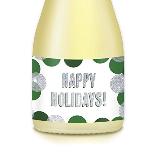 HAPPY HOLIDAYS! Mini-Champagne Stickers or Wine Labels, Set of 20 Pony-Size Beverage Bottle Decals, Merry Christmas! Feliz Navidad! Seasonal Celebrations, New Year's Eve Party Decorations, Gift -