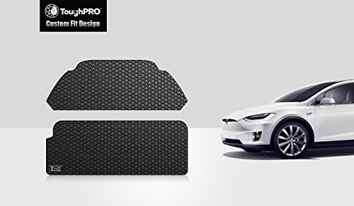 TOUGHPRO Frunk Mat Accessories + Trunk Mat Accessories Compatible with Tesla Model X (6 or 7 Seater) - 3rd Row Up - All Weather - Heavy Duty - (Made in USA) - Black Rubber - 2017, 2018, 2019, 2020