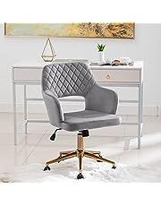 DUHOME Kontorsstol skrivbordsstol sammet täcker höjd justerbar svängbar stol lutningsmekanism 6290B, färg: grå
