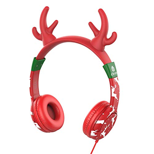 iClever Kids Headphones on Ear - Wired Headphones for Kids, 85dB Volume Limiting, Adjustable Lightweight Removable Deer Horn for Kids Tablet iPad for Kids, Red