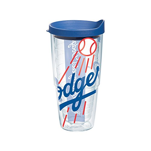 "Tervis 1091470 ""MLB La Dodgers Colossal"" Tumbler with Blue Lid, 24 oz, Clear"