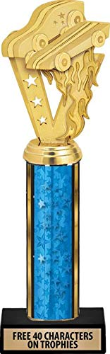 Star Column Trophy - Crown Awards Pinewood Derby Trophies - 11 Inch Customized Pinewood Derby Blue Stars Column Trophies Prime