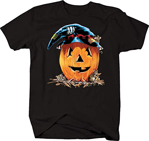 Jack O'Lantern Face Smiling Mice Halloween Witch Hat Spooky Boo Tshirt - Large Black
