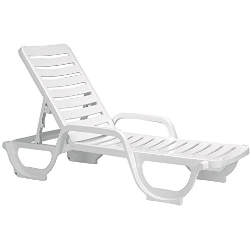Case of 18 Grosfillex Bahia Stacking Adjustable Resin Chaise - White