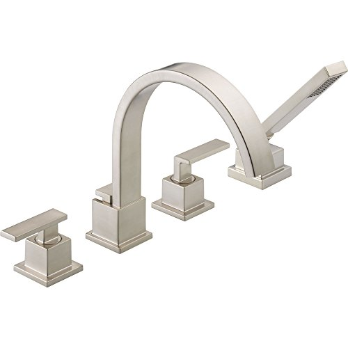 Delta Vero Stainless Steel Finish Roman Tub Faucet with Valve & Hand Spray (Stainless Steel Soaking Tub)