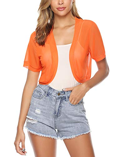 Aiboria Women Short Sleeve Sheer Chiffon Shrug Open Front Bolero Cardigan Orange