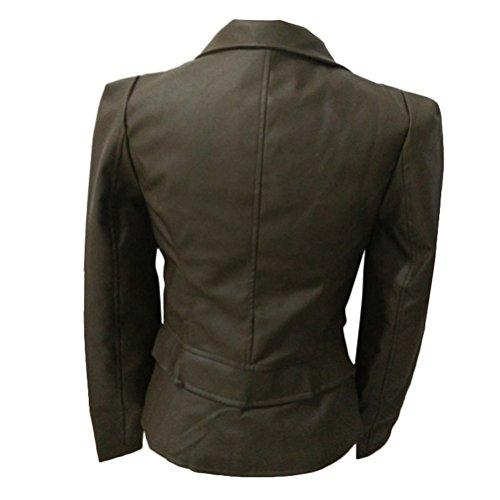 Zip fit Brinny blouson Slim Green Army col Jacket Femme rabattu Mesdames xxqUX6