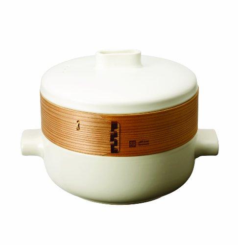(JIA Inc. Steamer Set - Large Set (Ceramic Steamer Pot and Lid + Cedar Wood Basket))