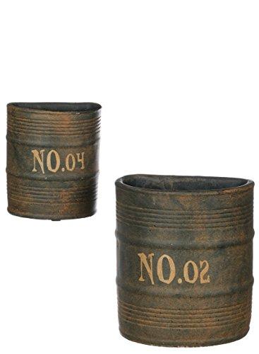 Sullivans CMT1120 Rustic Metal Half Barrels Can Wall Planters, Brown, 5.5 and 7.5 Inch, Set of 2 (Pocket Wall Porcelain)