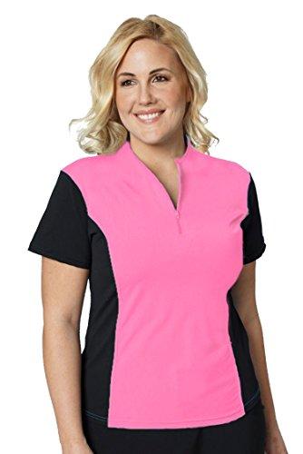 HydroChic Plus Size Sport & Swim Athletic Zip Top 2X in Pink/Black
