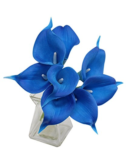 Royal Blue Kitchen - Angel Isabella 10pc set Real Touch calla lily-keepsake artificial flower perfect for cut to make boutonniere corsage bouquets(Royal blue)