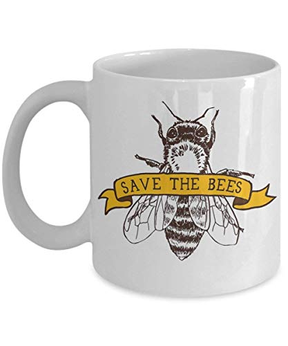 Save The Bees Coffee Mug Cup (White) 11oz - Bumble Bee Inspired Gifts Merchandise Accessories Shirt Poster Sticker Pin Decal Artwork Decor Equipment H