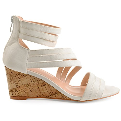 (Brinley Co. Womens Lacey Strappy Faux Leather Faux Cork Wedges White, 8 Regular US)