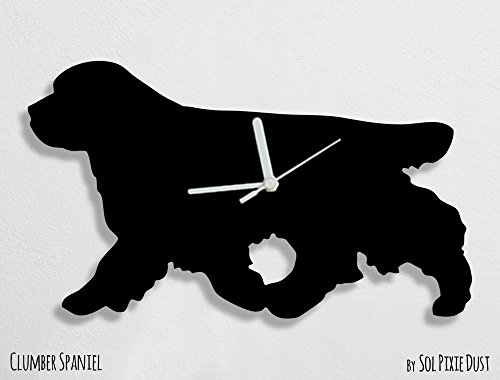 Clumber Spaniel Silhouette Dogs - Clumber Spaniel Dog - Wall Clock