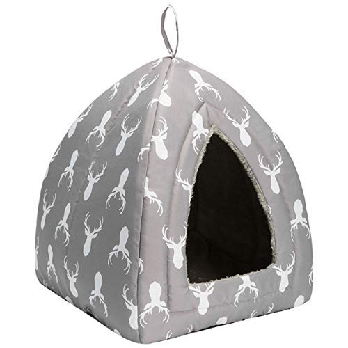Hollypet Self-Warming 2 in 1 Foldable Comfortable Triangle Cat Bed Tent House, Gray Antlers ()