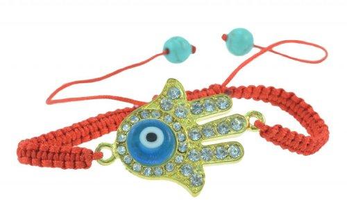 Gold Hamsa hand with evil eye handmade red string bracelets - good for protection ()