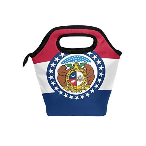 Missouri Flag Lunch Box Insulated Cooler Thermal Reusable Tote Bag Portable Handbag -