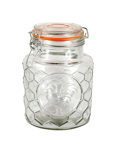 Grant Howard 50977 Rooster Honeycomb Emboosed B&T Class Jar B, 40 oz, Clear/Orange
