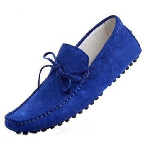 Happyshop (tm) Mocassino Uomo In Pelle Scamosciata Casual Mocassino Slip-on Mocassini Nappa Driving Shoes Zaffiro Blu