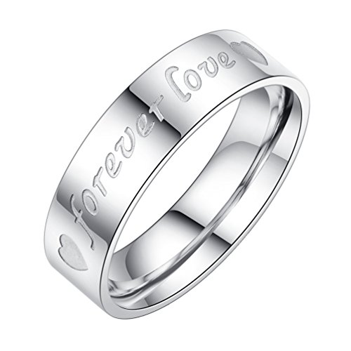 Forever Love Ring (PAMTIER Stainless Steel His and Hers Couples Promise Ring Engagement Wedding Band Forever Love Carved Men Size 10)