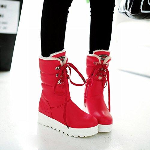 Carolbar Donna Pizzo Up Moda Caldo Freddo Clima Comfort Neve Inverno Stivali Rosso