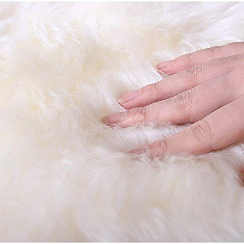 bedee Faux Sheepskin Rug, Faux Fur Rug, Faux Fleece Chair Cover Seat Pad Soft Fluffy Shaggy Area Rugs For Bedroom Living Room Kids Room (White, 90 x 90cm)