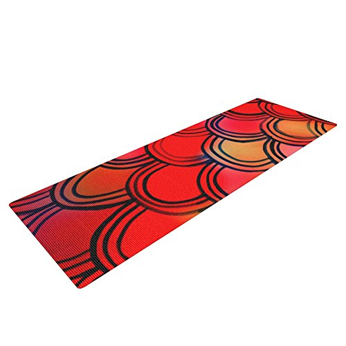 Kess InHouse Theresa Giolzetti Dragon Tail Yoga Exercise Mat, Red/Orange, 72 x 24-Inch by Kess InHouse