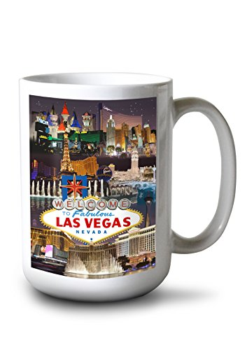 - Las Vegas, Nevada - Casinos and Hotels Montage (15oz White Ceramic Mug)