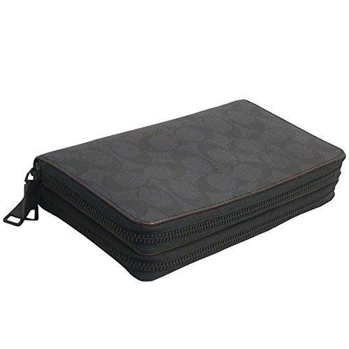 COACH DOUBLE ZIP TRAVEL ORGANIZER BLACK/BLACK/OXBLOOD F25528 (Coach Travel Organizer)