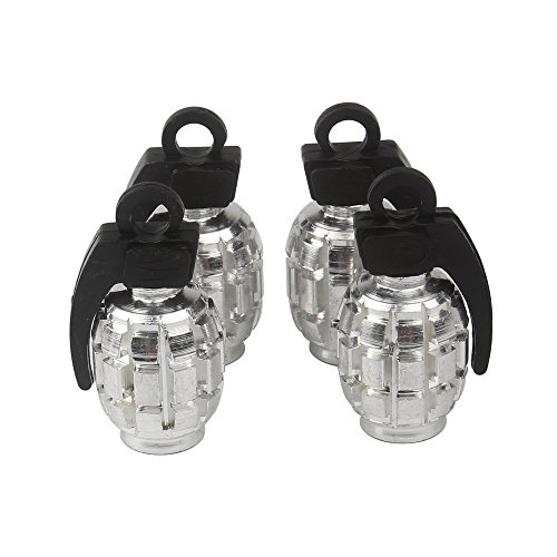 Senzeal 4X Aluminum Grenade Bomb Style Universal Tire Tyre Valve Caps Set for Car Motorcycle Bike Silver