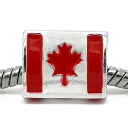 Pendant Jewelry Making Canadian Flag Red Enamel Canada Maple Leaf Charm for European Bead Bracelets