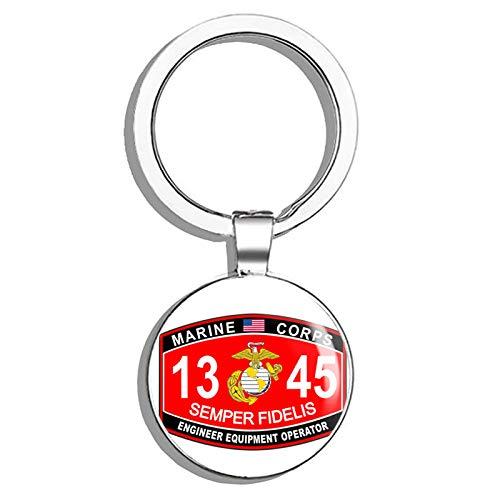 - HJ Media Engineer Equipment Operator Marine Corps MOS 1345 USMC US Marine Corps Military Stainless Steel Round Metal Key Chain Keychain Ring