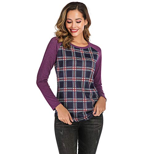 POQOQ Blouse Tunic Women Casual Plaid Print Shirt Long Sleeve Round Neck Loose Tops(Purple,S)