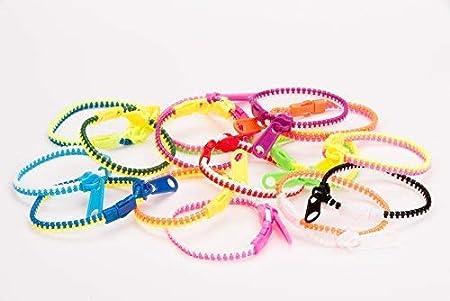 Easter Egg Basket Stuffers UpBrands Fidget Zipper Bracelets Sensory Toys Bulk Set Neon Colors 12 Pack 15.5 Inches Goodie Bags Kit for Birthday Pinata Filler Small Prizes Party Favors for Kids