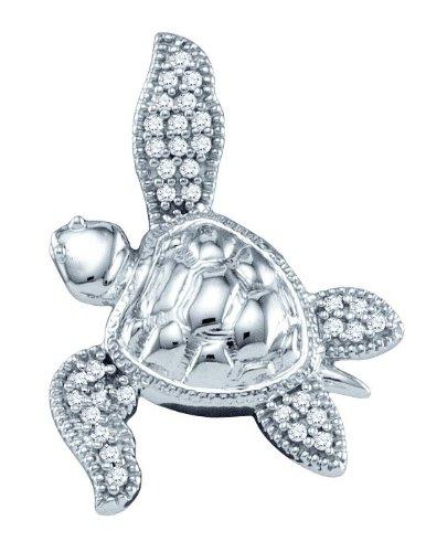 10 k or blanc Diamant 0,10 Dwt brute en Pendentif or de haute qualité Or 9 Carats JewelryWeb