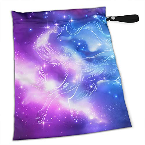 (Wolf's Paradise Galaxy for Swimsuit and Towels Waterproof Kids Baby Boy Clothes Diaper Hanging Reusable Menstrual Sanitary Cloth Pads Handle Wristlet Portable Wet-Dry Bag)