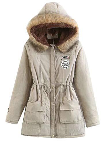 Outwear Parka Hooded Khaki Fur Coat TTYLLMAO Warm Women's Long Collar Coat Winter qcW4OT6Wz