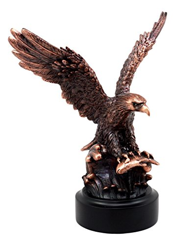 (Ebros Wildlife Swooping American Bald Eagle Catching Fish Statue Nature Eagle Bronze Electroplated Resin Figurine)