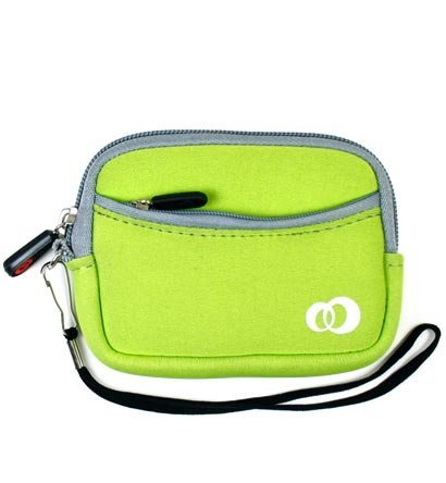 Lime Green Neoprene Portable Headphone Case w/Front Pocket &