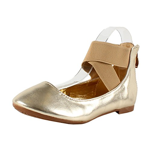 Bella Marie Stacy-29 Womens round toe nubuck/patent crossing ankle strap zip closure flat dancing shoes Gold ITlyM