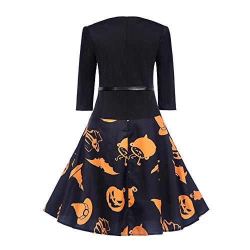 Sera Rawdah Festa Aderente Vintage Swing Halloween Stampare da Vestiti 2018 Manica 4 estate Sera vestiti donna Clearance Arancia Vestito donna 3 ▾ T4SrTqB