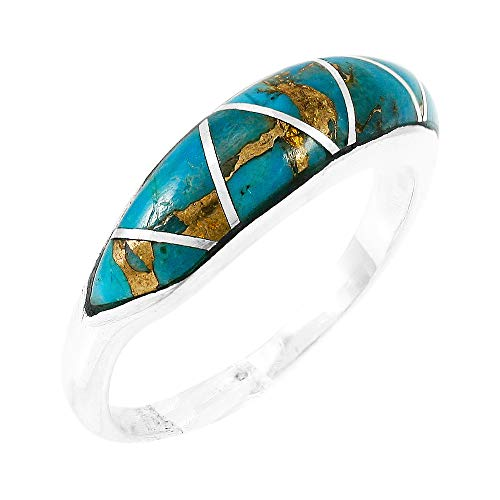 - Turquoise Ring Sterling Silver 925 Genuine Gemstones Size 6 to 11 (Teal/Matrix Turquoise) (11)