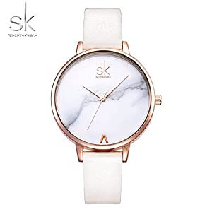 Shengke Ladies Wristwatch Creative Flag Colors Dial Women Watches Brand Luxury Watch Women Mesh Relogio Feminino Dress Watch SK (rosegold case&white strap)