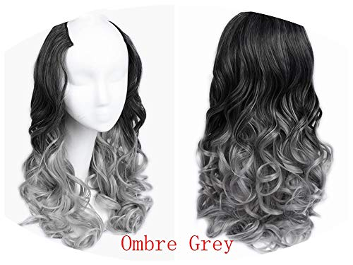 U Part 7 Clips In Body Wave Hair Extension Half Wig For Women High Temperature Synthetic,Ombre Grey,22inches