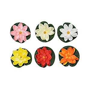 CNZ Floating Pond Decor Artificial Water Lily/Lotus Foam Flower Small, 6-pack 68