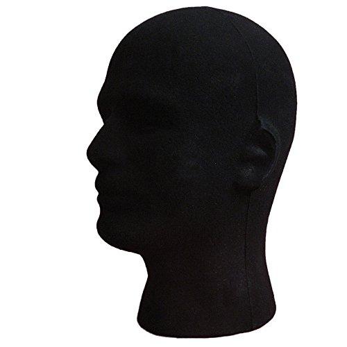 - XILALU Men Male Styrofoam Foam Flocking Black Head Model Wig Glasses Headset Display Stand Black (One Size, Black)