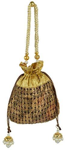 Clutch Copper (Tooba Women's Velvet Clutch Bag Free Size Copper Tissue Potli)